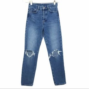H&M Vintage Fit High Waist Busted Knee Jeans
